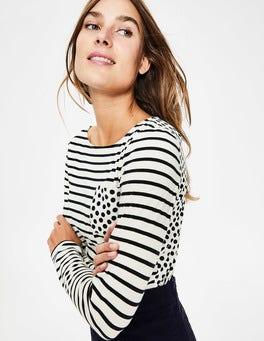 Ivory/Navy Pocket Spot Long Sleeve Breton