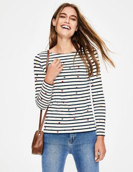 Ivory/ Navy Multi Dot Long Sleeve Breton