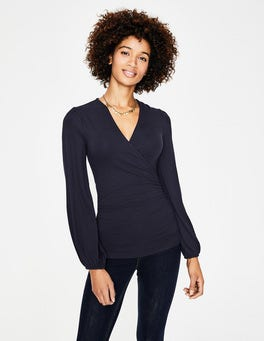 Navy Elodie Wrap Top