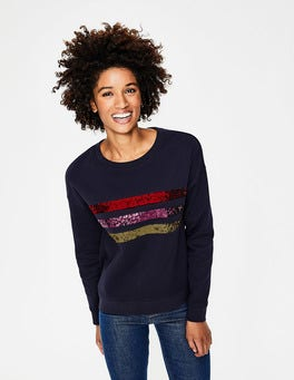 Navy Sequin Stripe Arabella Sweatshirt