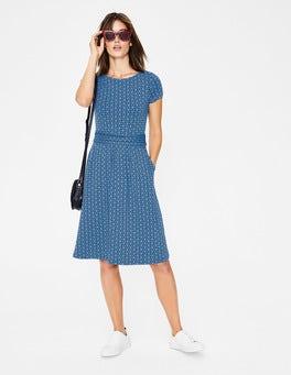 Blau/Navy, Mosaikmuster Amelie Jerseykleid