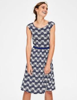 Navy Holiday Palm Bernice Jersey Dress