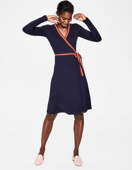 Navy Cara Jersey Wrap Dress