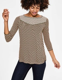 Khaki Star Stamp Natasha Jersey Top