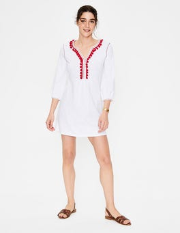 White/Red Pop Trim Carina Jersey Tunic