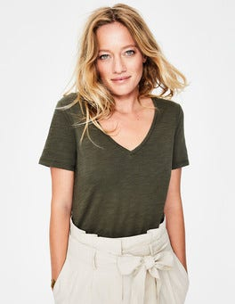 Khaki The Cotton V-neck Tee