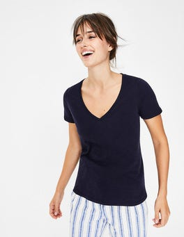 Navy The Cotton V-neck Tee