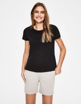 Schwarz Das Baumwoll-T-Shirt mit Rückendetail