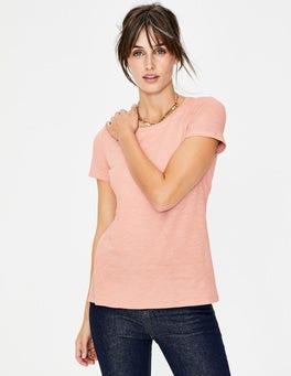 Kreiderosa Das Baumwoll-T-Shirt mit Rückendetail