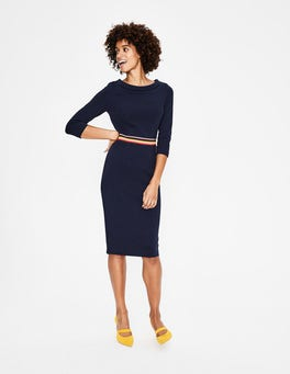 Navy Daisy Ottoman Dress