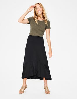Black Fluted Hem Jersey Skirt