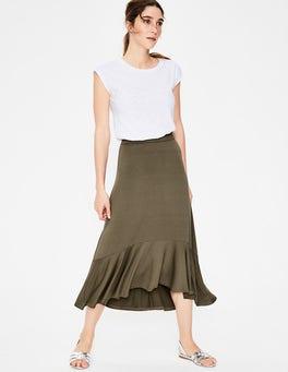 Classic Khaki Fluted Hem Jersey Skirt
