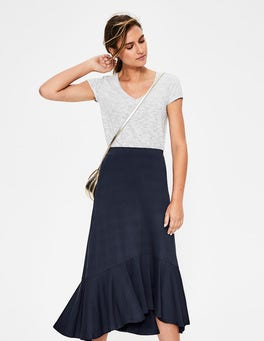 Navy Fluted Hem Jersey Skirt