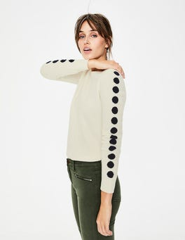 Ivory/Navy Spot Cashmere Crew Neck Sweater