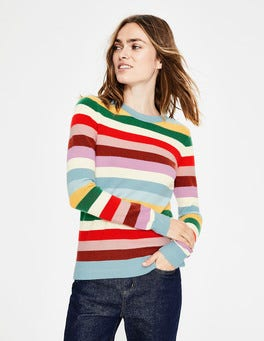 Multi Stripe Cashmere Crew Neck Sweater