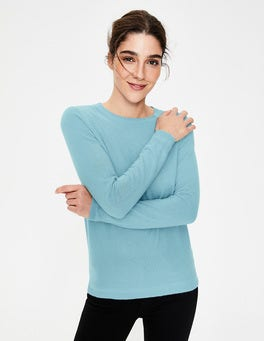 Heron Blue Cashmere Crew Neck Sweater