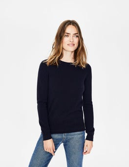 Navy Cashmere Crew Sweater