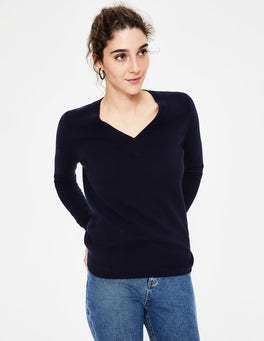 Navy Cashmere Relaxed V-neck Jumper