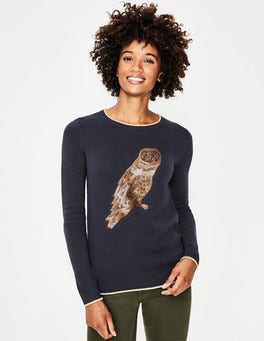 Metallic Owl Christmas Jumper