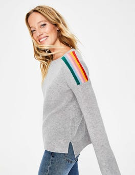 Silver/Multi Stripe Celia Cashmere Sweater