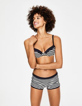 Navy/Ivory Stripe Piping Swim Shorts