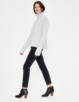 Embroidered Navy Velvet Soho Skinny Jeans