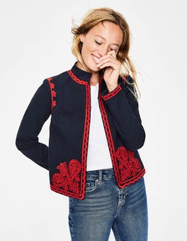 Navy Lisbon Embroidered Jacket