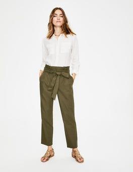 Kaki classique Pantalon St Ives à taille froncée