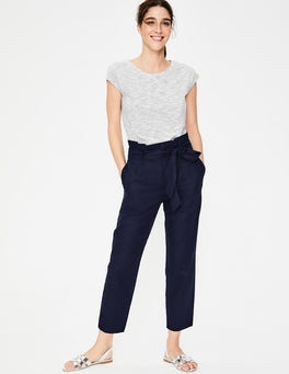 Navy St Ives Paperbag Trousers