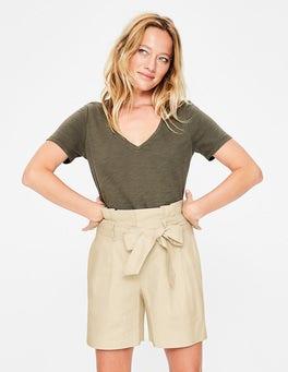 Ecru St. Ives Paperbag-Shorts