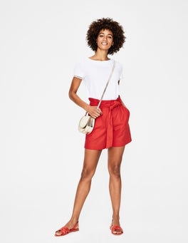 Knalliges Rot St. Ives Paperbag-Shorts