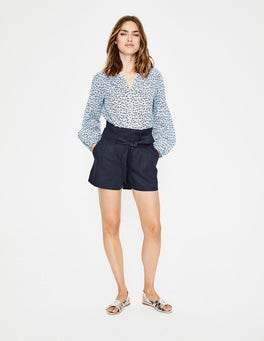 Navy St Ives Paperbag Shorts
