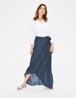 Navy and Ivory, Polka Dot Florence Maxi Skirt