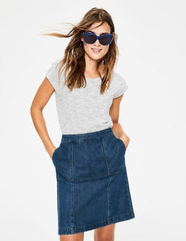 Mid Vintage Denim (Mid Wash) Helena Chino Skirt