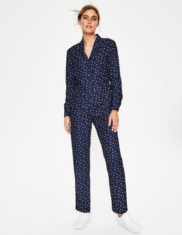 Navy and Ivory, Scattered Dot Tillie Jumpsuit