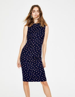 Navy & Chalky Pink Spot Seam Detail Martha Dress