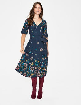Navy, Flourish Emilie Midi Dress