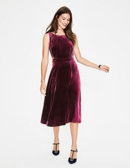 Mulled Wine Thomasina Velvet Midi Dress