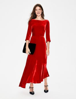 Poinsettia Rebecca Velvet Maxi Dress