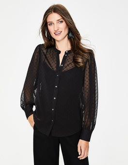Black Lyra Blouson Sleeve Shirt