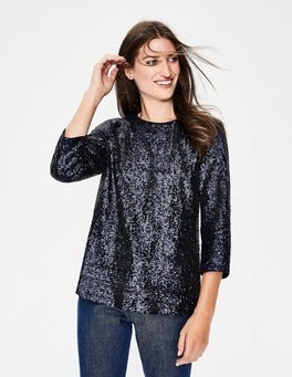 Navy Emmy Sequin Top
