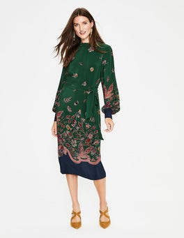 Chatsworth Green, Wonderland Bonnie Silk Midi Dress