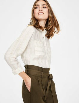 Ivory & Gold Lurex Stripe Linen Shirt