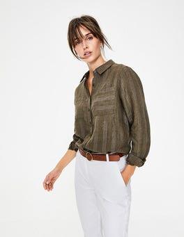 Khaki & Rose Gold Lurex Stripe Linen Shirt