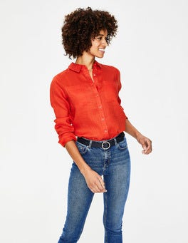 Red Pop Linen Shirt