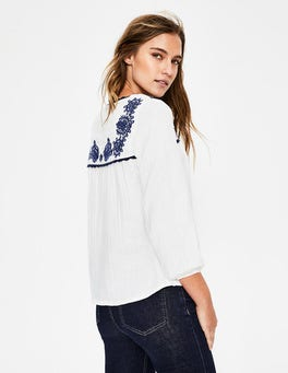 White with Blue Embroidery Abigail Embroidered Top