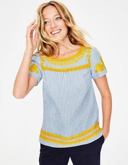 Cabin Ticking Stripe Fiona Embroidered Top