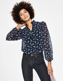 Navy Posy Bloom Anya Blouse
