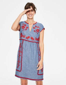 Chambray & Red Pop Embroidery Bea Linen Embroidered Dress