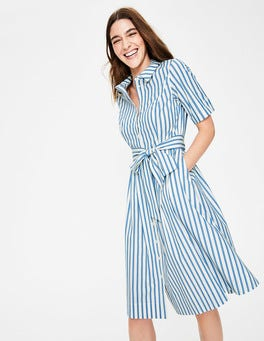 Ivory and Cyan Stripe Anastasia Shirt Dress